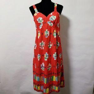 Vintage 80's red floral print summer retro dress